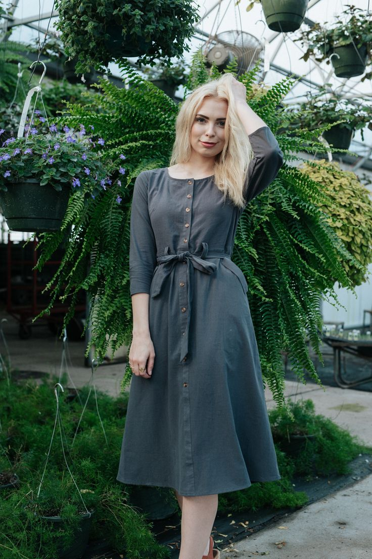 THE ALTA BUTTON UP DRESS IN SLATE