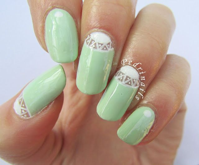 Easter nail art 2016 - Light green negative space skittlette double moon manicure - dots dotting tool dotticure nail design - photo © Pedrìnails