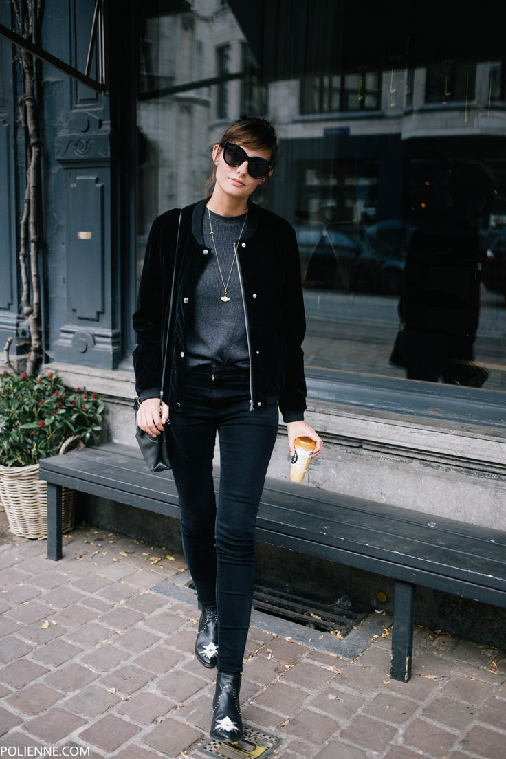 POLIENNE   wearing a VILA velvet bomber jacket, H&M tee, CHEAP MONDAY denim, CELINE sunglasses, MOROBE booties & COACH bag
