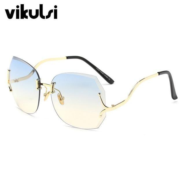 6d477ed11b0 Oversized Transparent Cat Eye Sunglasses Women Brand Designer Rimless  Square Frame Clear Gradient Color Sun Glasses