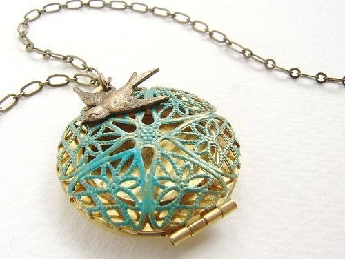 Bird Locket Necklace Turquoise green filigree by soradesigns, $19.50