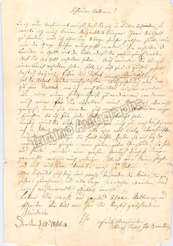 Gerstacker, Samuel Friedrich - Autograph Letter Signed 1820
