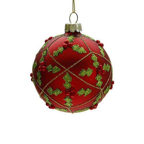 Traditional Red Christmas Bauble With Holly Design By