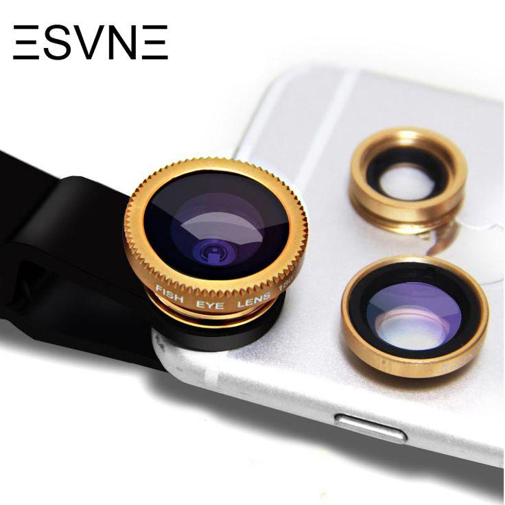 ESVNE Fish eye lens universal 3 in 1 fisheye wide angle macro camera lens for iphone 5 6 7 xiaomi fish eye mobile phone lens