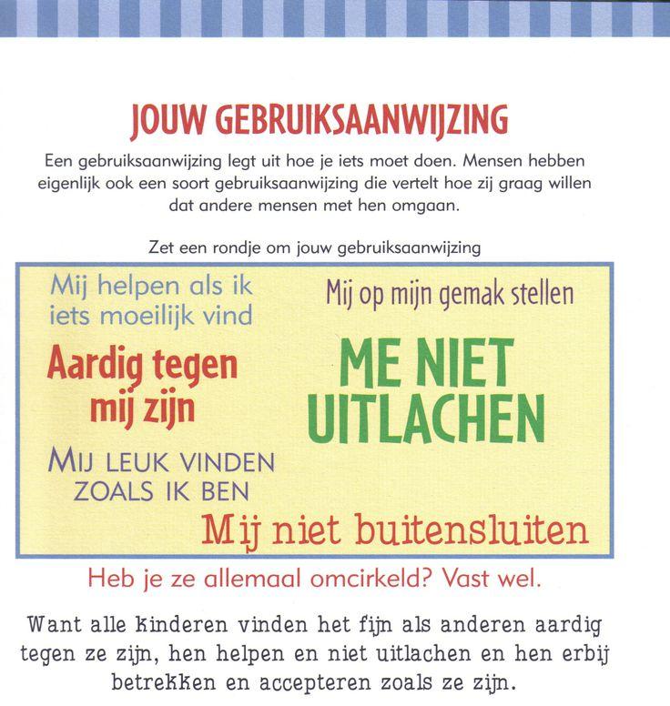 Werkblad: Jouw Gebruiksaanwijzing. Mooi voor bewustwording van eigen gebruiksaanwijzing en die van andere kinderen