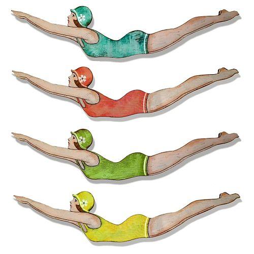 Retro dive girls by Suzanne Nicholl