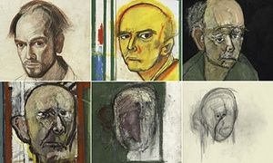Details from William Utermohlen's self-portraits, the first, made in 1967, the rest from 1996 the year following his diagnosis of Alzheimer's disease, to 2000, charting his decline. Photograph: Images courtesy of the artist's estate and GVArt Gallery, London