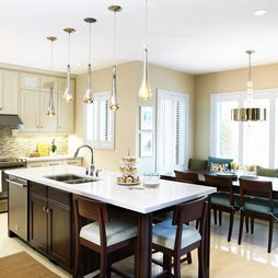 Pendant lights above kitchen island hung at different heights to - 78 Best Images About Kitchen Islands With Tables On