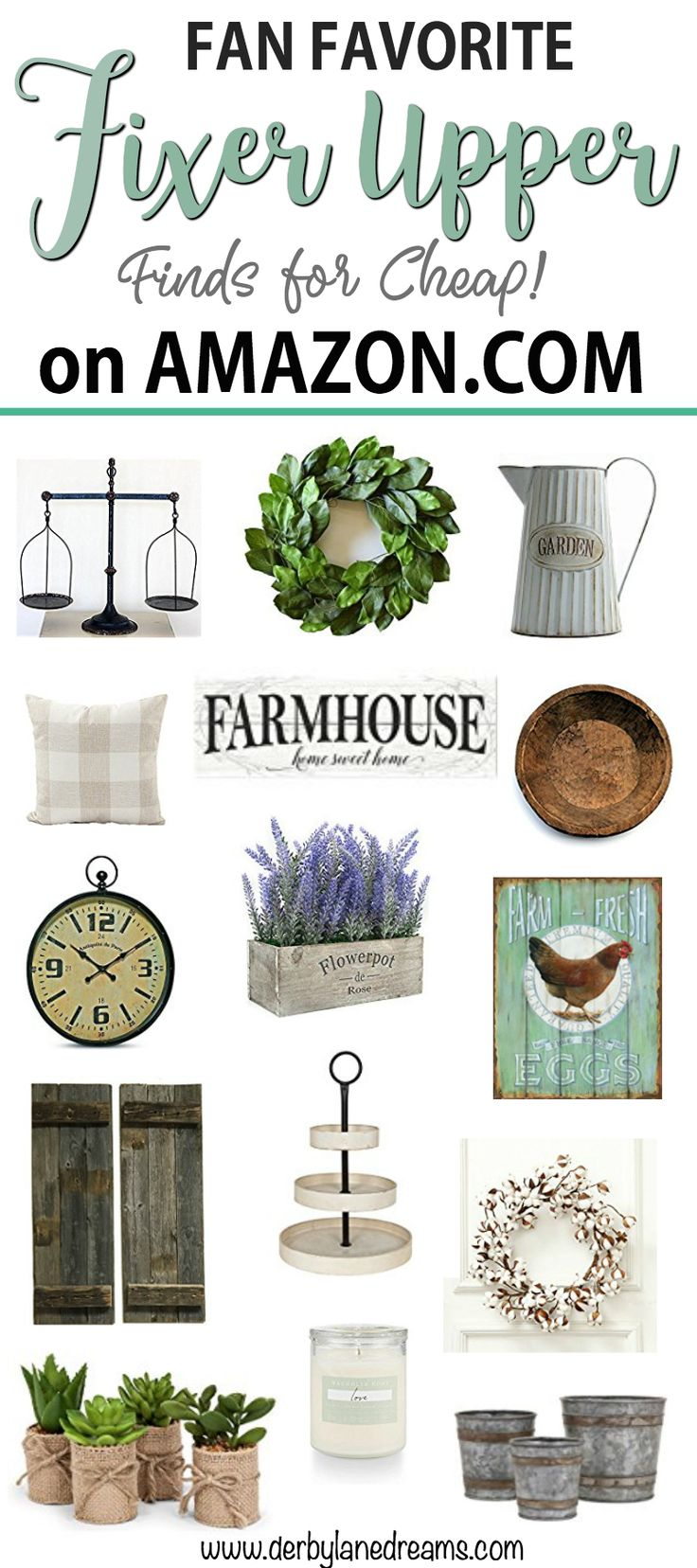 Fixer Upper Finds for Cheap on Amazon! Joanna Gaines, farmhouse decor, and rustic style all in one. Find the BEST deals on Fixer Upper Decor on Amazon.com