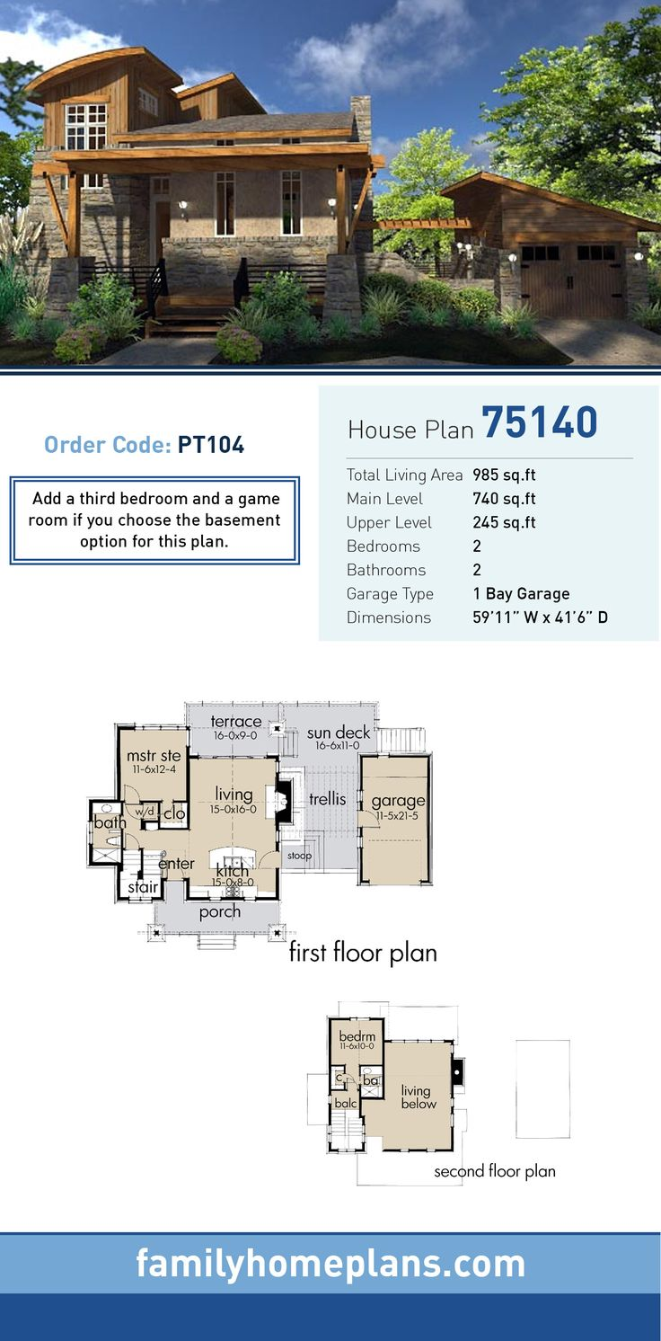 Bungalow House Plan 75140 Total Living