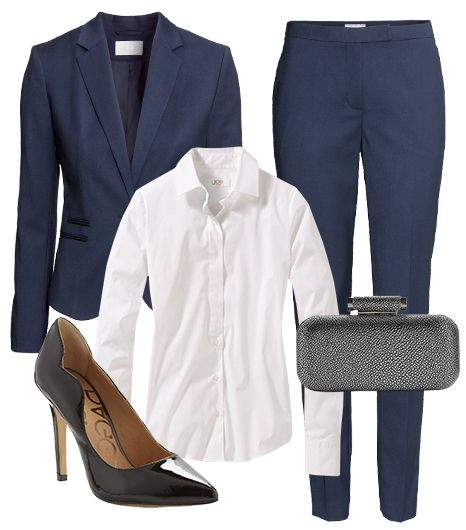@Alexandra M What Wear - Get Emma Watson's look for 97% off.  ​H&M Single-Breasted Blazer ($35) in Dark Blue; Joe Fresh Button Down Placket Shirt ($24) in White; H&M Suit Pants ($25) in Dark Blue; Kelsi Dagger Ezira Patent Pumps ($50) in Black; Urban Expressions Bliss Stingray Box Clutch ($40).