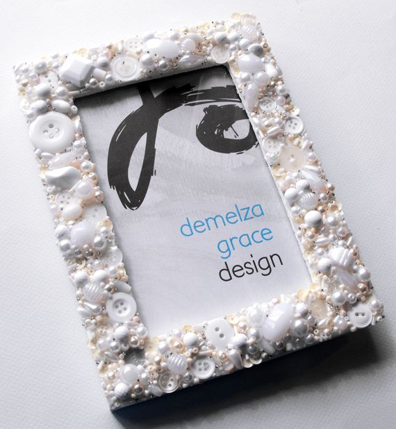 Button & bead encrusted frame by Demelza Grace Design