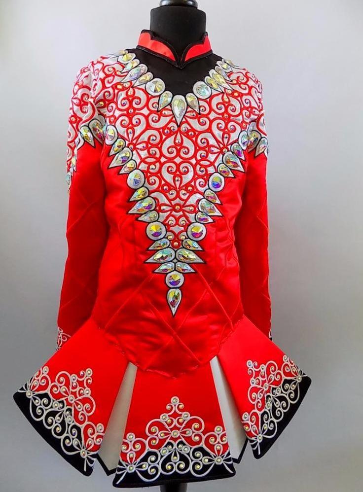 Striking Red Devlin Designs Irish Dance Dress Solo Costume For Sale