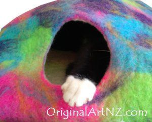 My cat in his new man cave - felted with pure NZ wool made to order - coloured or natural blends