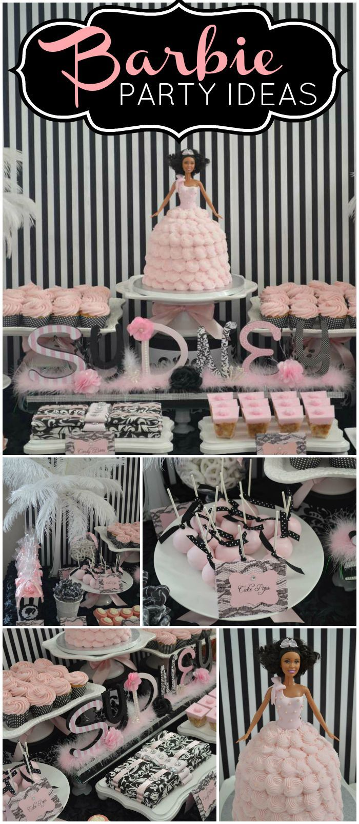 You have to see this stylish Barbie party! So glamorous! See more party ideas at CatchMyParty.com!