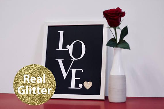 Love black. Modern minimalistic wall picture, made of special, thick, extra black creative paper and gold glitter paper, whith 3D effect (it's not printed). Wall paper art | Wall decor | Wall art | Wall print art | Paper home decor | paper cut | picture | minimalistic | love | heart | valentine | valentine day | black and white | glitter | gold glitter