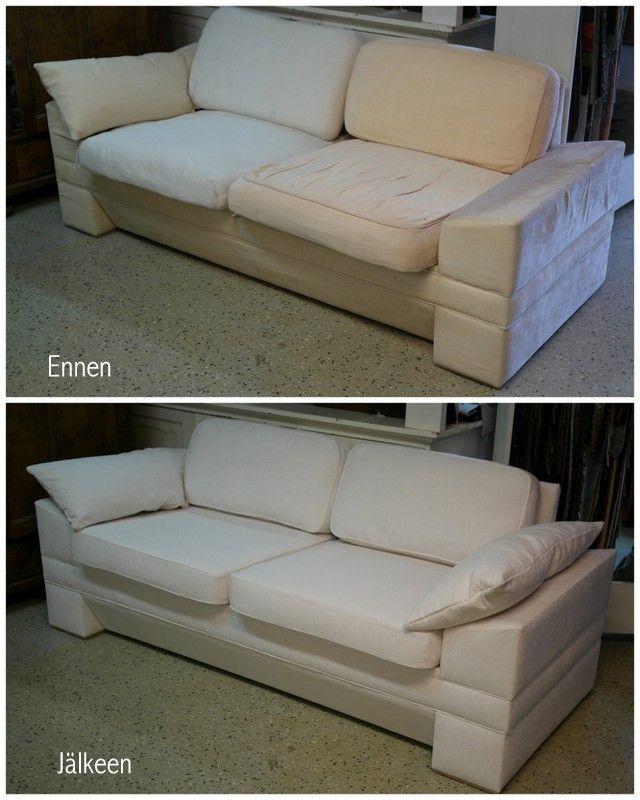 Moderni sohva ennen ja jälkeen verhoilun