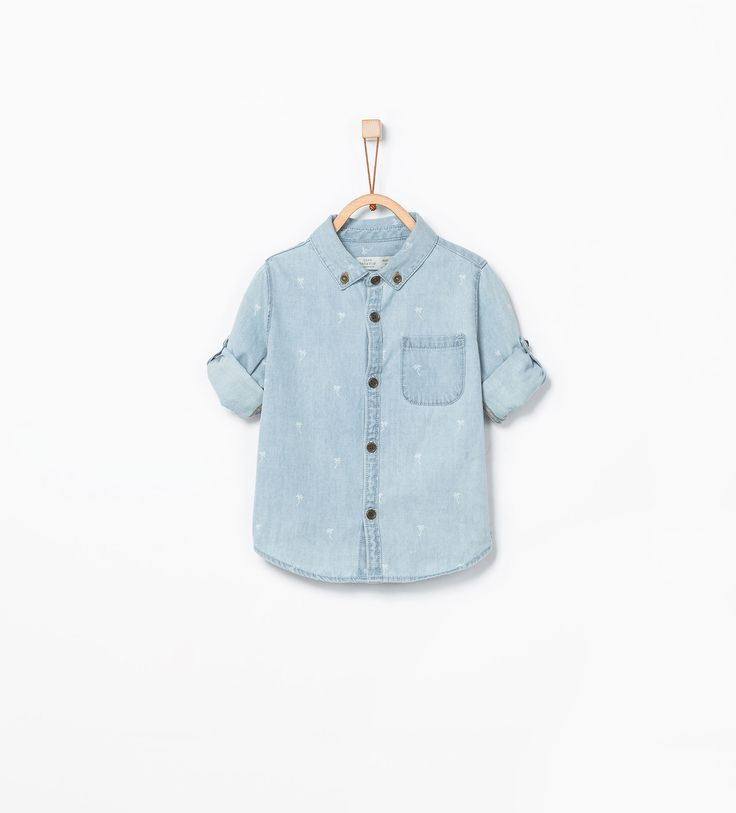 Denim overhemd met oprolbare mouwen - Hemden - Baby jongen (3maanden - 3 jaar) - KINDEREN | ZARA Nederland