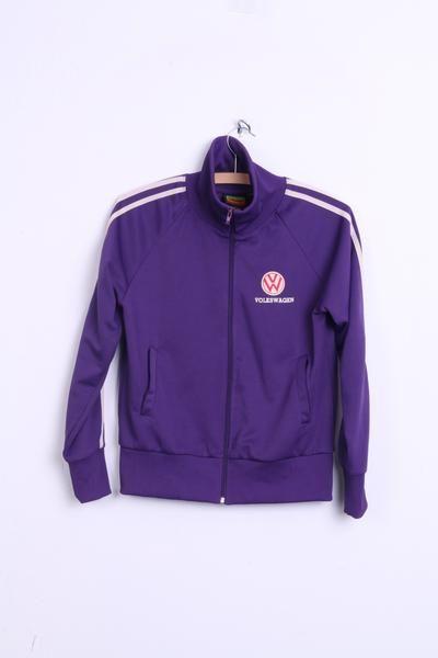 Volkswagen Womens S/M Sweatshirt Sport Warm Up Jacket Purple Vintage - RetrospectClothes