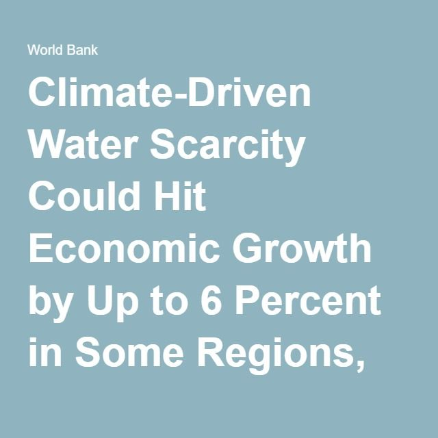 Climate-Driven Water Scarcity Could Hit Economic Growth by Up to 6 Percent in Some Regions, Says World Bank
