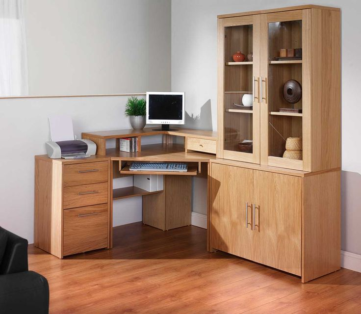 Corner Computer Desks For Your Home Office Furniture : Astonishing LShaped  Corner Computer Desk With Keyboard Storage And Glass Door Wood Storage Also  ...