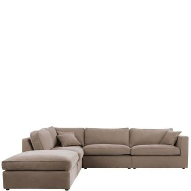 STRINGENTO Ecksofa Links Und Hocker Taupe   Sofa