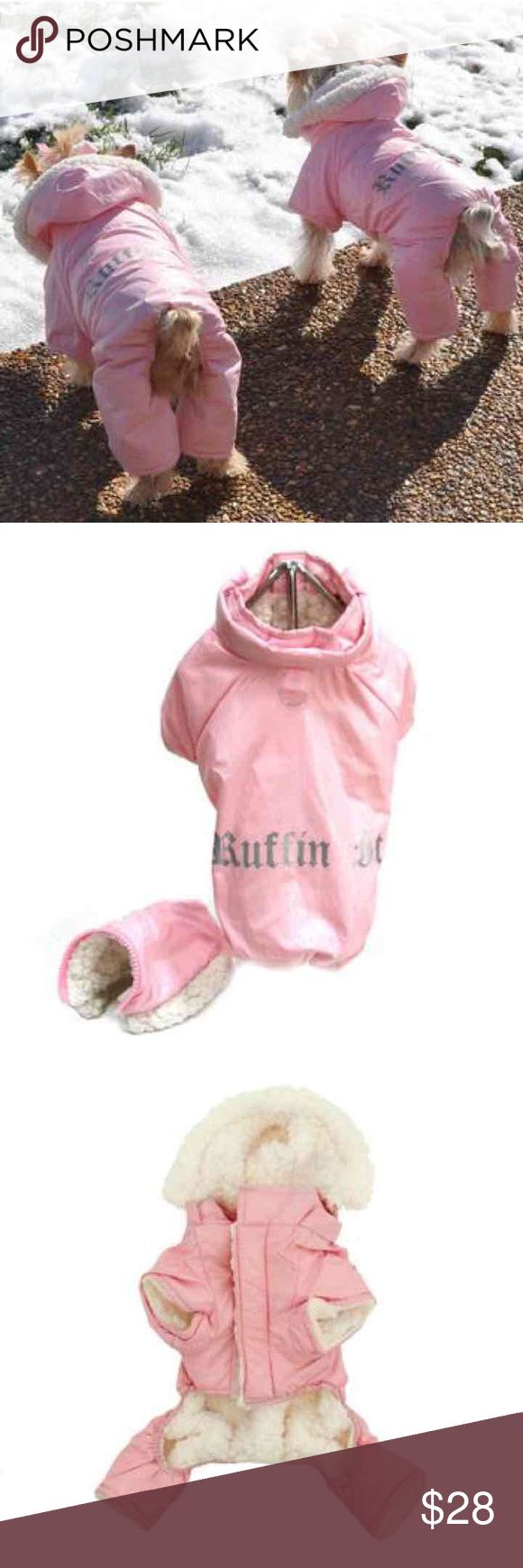 """Pink Ruffin It Dog Snow Suit Harness Pink Ruffin It Dog Snow Suit Harness It is designed to keep your little girl Warm, Cuddly and Dry on those cold fall and winter nights. It is fully lined inside, with a very soft and thick Sherpa Fleece. The Outer Shell is made from a soft, flexible water repellant Polyester/Nylon Blended fabric, with the words """"Ruffin It"""" silkscreened on the middle back area.  Removable Hood and can be worn with or without the Hood Feature.  Small/Medium  Back Length…"""