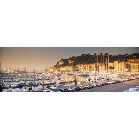 Port of Nice lined by old houses and filled with new yachts Nice Alpes-Maritimes Provence-Alpes-Cote dAzur France Canvas Art - Panoramic Images (18 x 6)