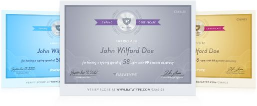 Pass a online free typing speed test and get a certificate.