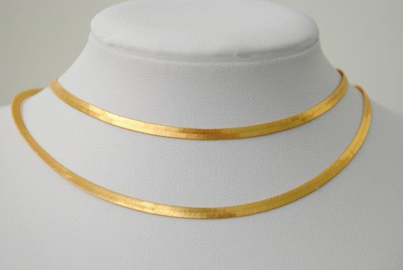 Wide long gold necklace, wide gold chain, Gold Herringbone Chain, wide flat gold
