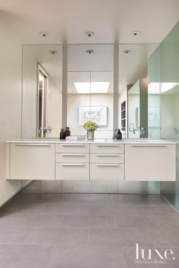 White Bathroom Double Vanity: Contemporary White Bathroom With Double Vanity