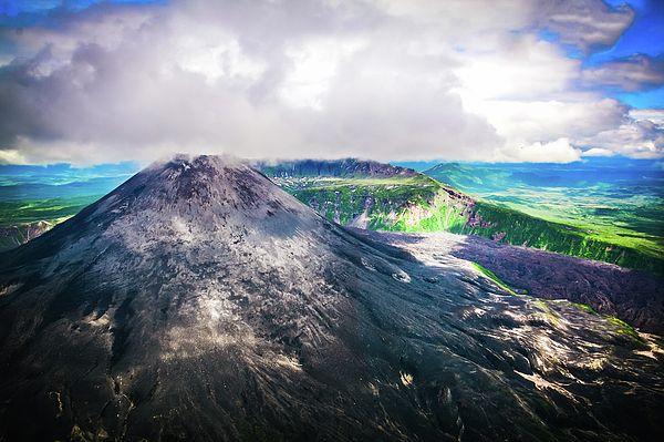 The Volcano On Kamchatka, Russia Photograph by Nadezhda Tikhaia  #NadezhdaTikhaiaFineArtPhotography #ArtForHome #HomeDecor #Nature #Landscapes #InteriorDesign #FineArtPrints #Russia