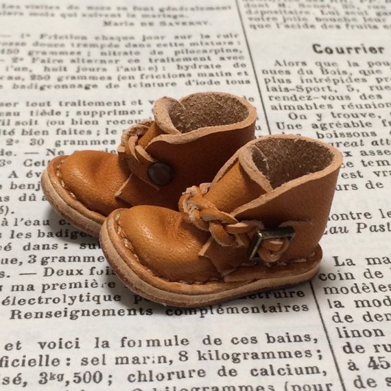 Real leather: miniature ankle boots CAMEL for blythe by nero1025