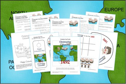 FREE Columbus Day Printables~  Puzzle, pencil topper, coloring page, multiple choice worksheet, vocabulary, and more!