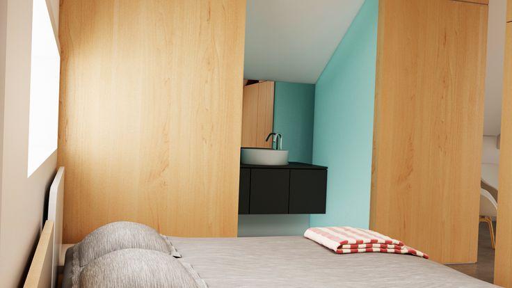 Ático Cangas / equipoeme estudio #urban #design #interiorismo #equipoeme #bajocubierta #renders #baño #diseño #dormitorio