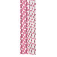 Candy Pink Polka Dot Party Straws (10ct)