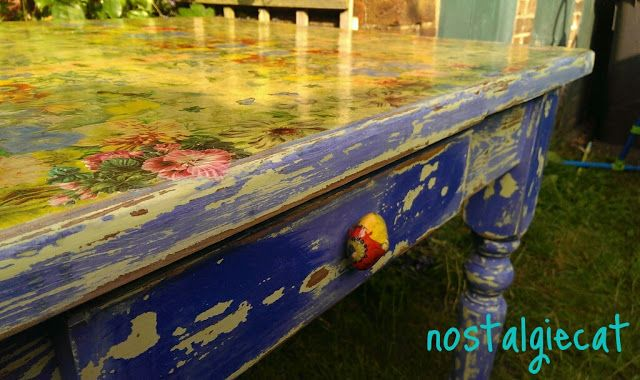 How to create this chippy paint finnish and a decoupaged tabletop...and:how to make your own drawer pulls to match...