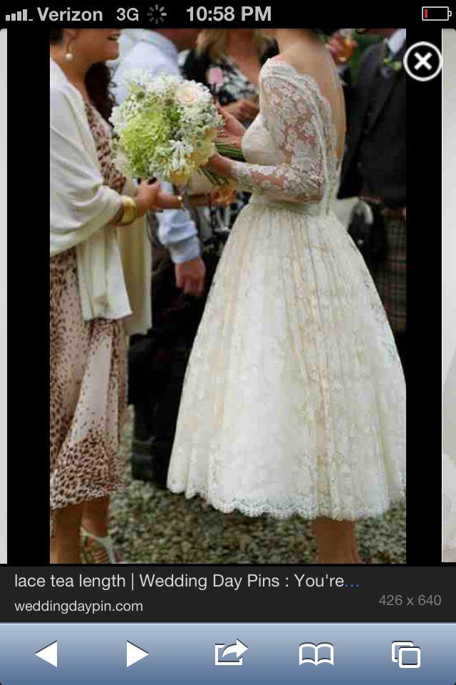 50s Style Tea Length Wedding Dress