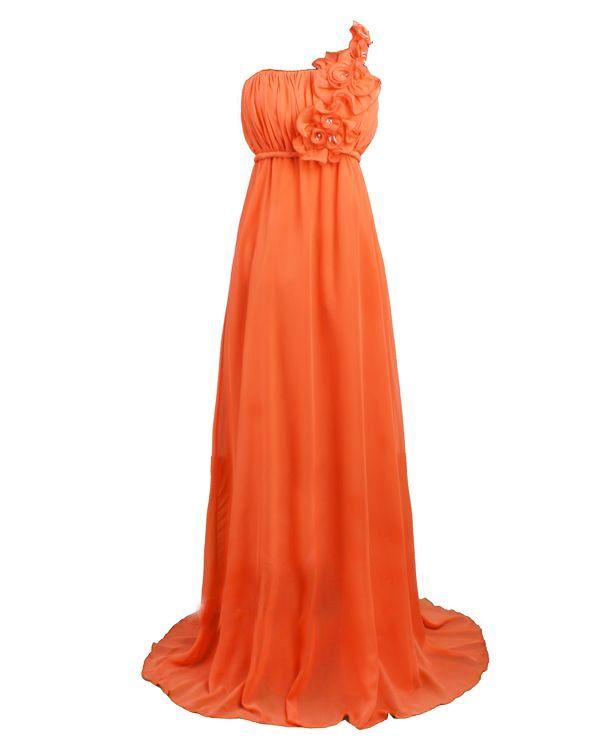 Robe longue de soirée abricot Epaule Unique