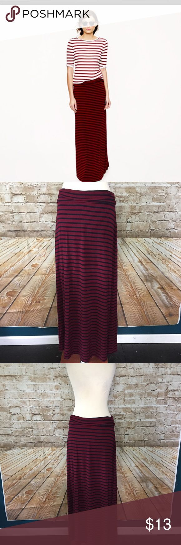 J. Crew Stripe Jersey Red Navy Maxi Skirt Small J. Crew Stripe Jersey Red Navy Maxi Skirt Small  Retail $75  Rayon/spandex  No flaws, has been worn and washed a few times  Soft and stretchy  Machine wash   Measurements in inches when laid flat:  Waist: 15  Hips: 17  Length: 40 J. Crew Skirts Maxi