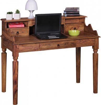 Wohnling WOHNLING Schreibtisch KADA Massivholz Sheesham | Sekretär 115 X  100 X 60 Cm Mit 3
