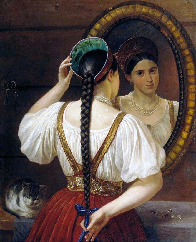 Долгое время женщины всех возрастов и всех сословий на Руси и в Московском государстве знали одну-единственную причёску – косу. Девушки украшали косы лентами или косником, женщины – закрывали повойником. Однако коса была не просто причёской.