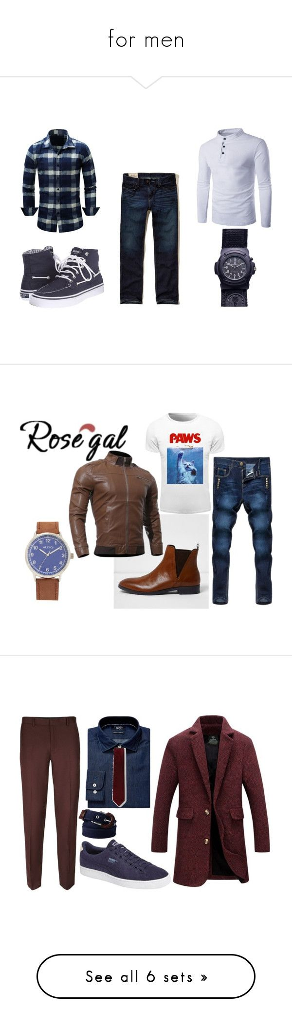 """for men"" by ilona-giladi ❤ liked on Polyvore featuring MensFashion, Hollister Co., Sperry, men's fashion, menswear, River Island, ALDO, Topman, Original Penguin and Puma"