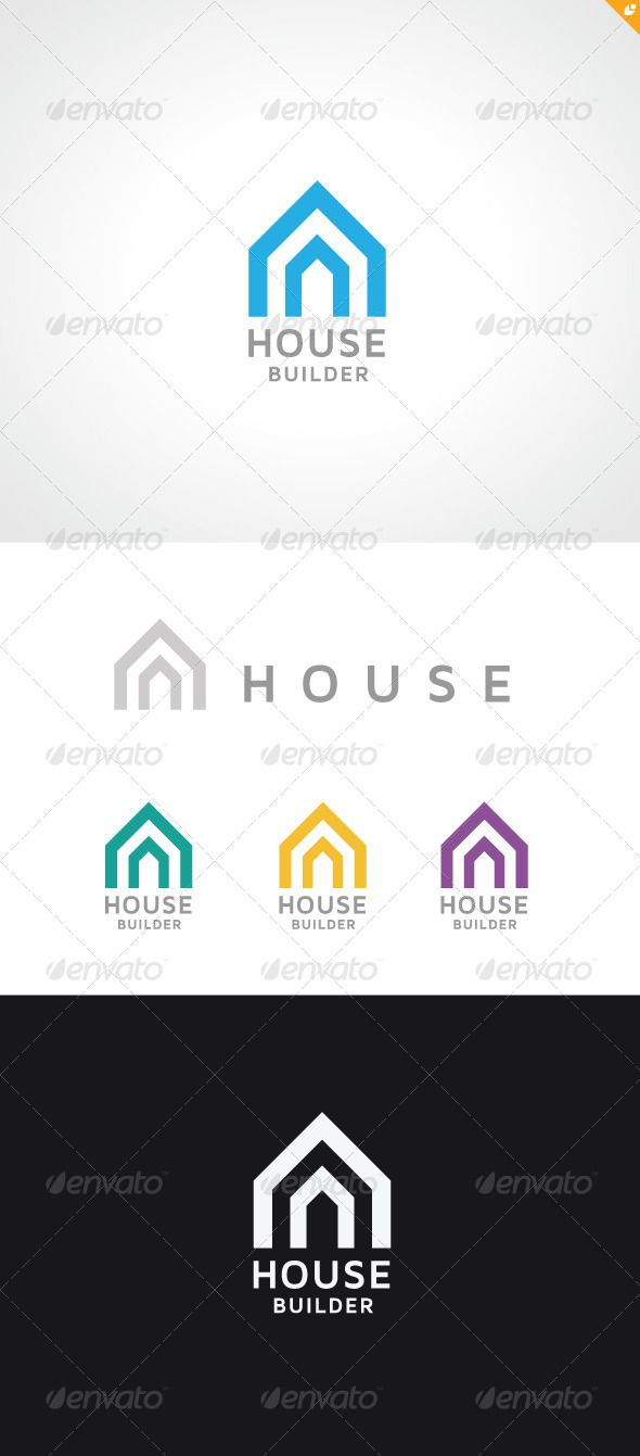 House Builder Logo #GraphicRiver House Builder – Logo Template This logo design for all creative business. and real estate related company.