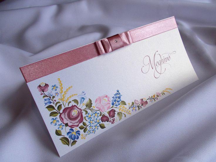 kalocsai mintás esküvői meghívó 14.4