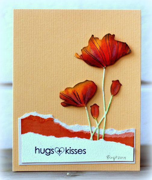 CAS261 Hugs card by Biggan at SCS using Penny Black Poppy die and torn coloured cardstock. The poppy has been coloured with watercolours. I love the colouring on the poppy heads.