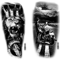 Two inspirations for today #road #bike #motorbike #lion #crown #clock #animal #women #tattoo #designs #design