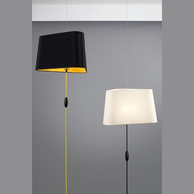 Lámpara colgante de techo con cable tejido e interruptor en el cable