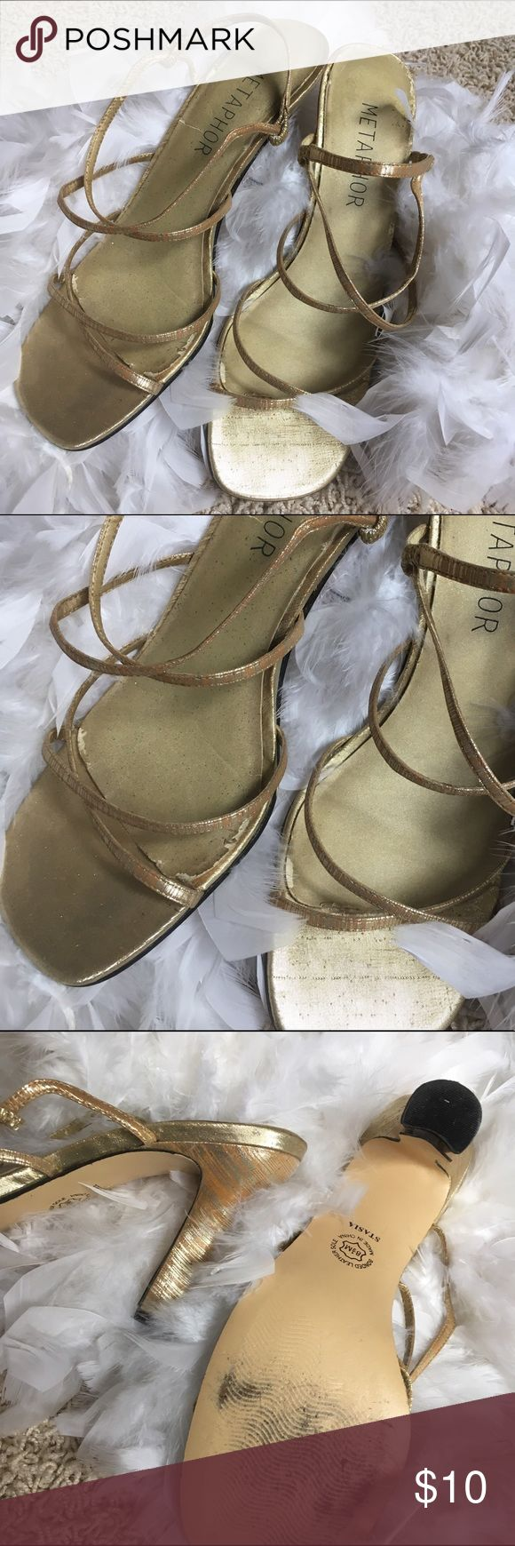 "VINTAGE Metaphor Gold Open Toe Heels Vintage. Some outter wear for its age. Size 8.5m. Bonded leather sole. Good condition with vintage wear. Heel is 3.5"" high. Metaphor Shoes Heels"