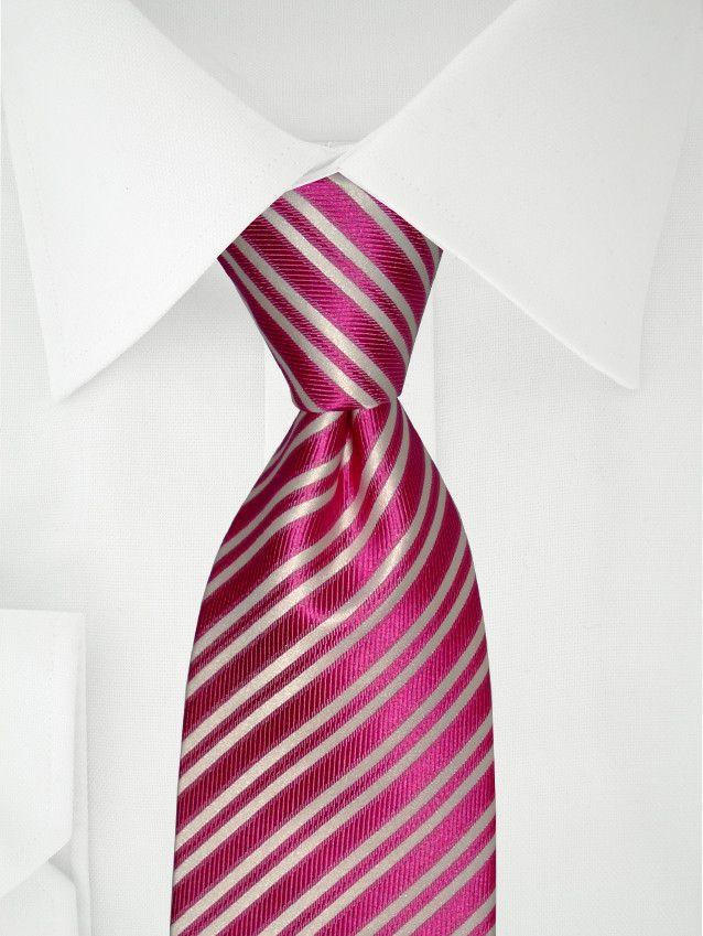 Cravate rose fushia à rayures blanches